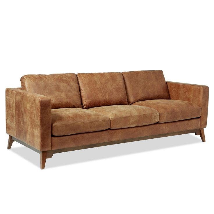 Filmore 89-inch Tan Leather Sofa | Overstock.com Shopping - The Best Deals on Sofas & Loveseats