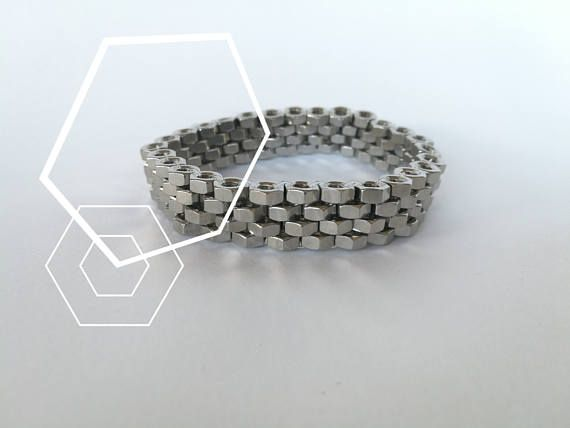 HEXNUTSMADE Chainmail hex nut bracelet  Silver tone nuts Chic