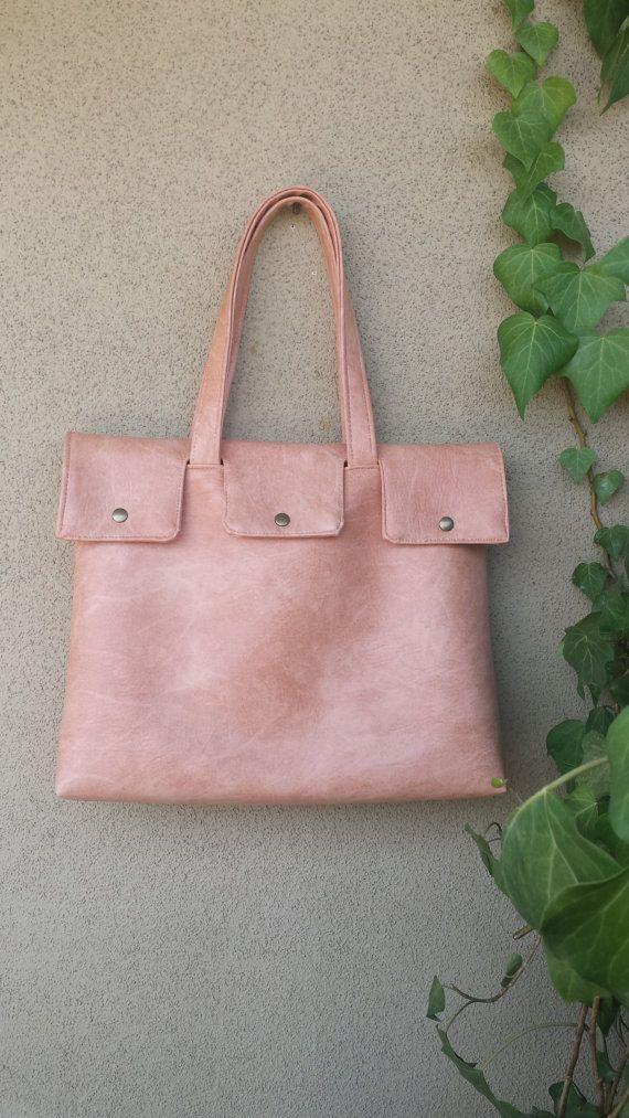 Oversized soft tote from vegan leather - minimal shopper bag - Big tote - nude tote - caramel brown tote bag - travel handbag