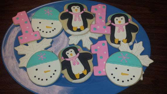 12 Winter Wonderland Sugar Cookies - Penguin Party Favors - Snowman Party Favors - First Birthday Party Favors