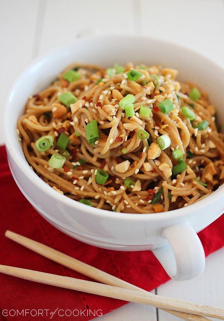 Simple Asian Soy-Peanut Noodles http://www.thecomfortofcooking.com/2013/08/simple-asian-soy-peanut-noodles.html