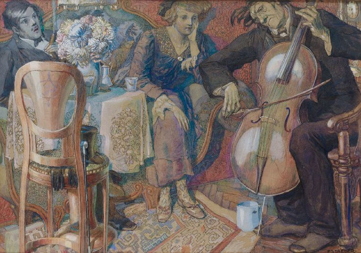 Ferdinand Staeger (1880-1976) -    Concert with Cello Player in Middle-Class Salon.