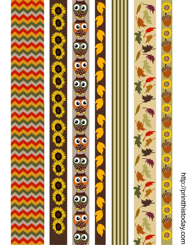Free printable fall themed washi tapes