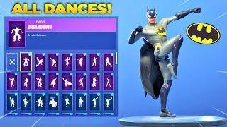 new fortnite batman skin showcase with all fortnite dances new emotes fortnite custom skin - fortnite nouvelle emote