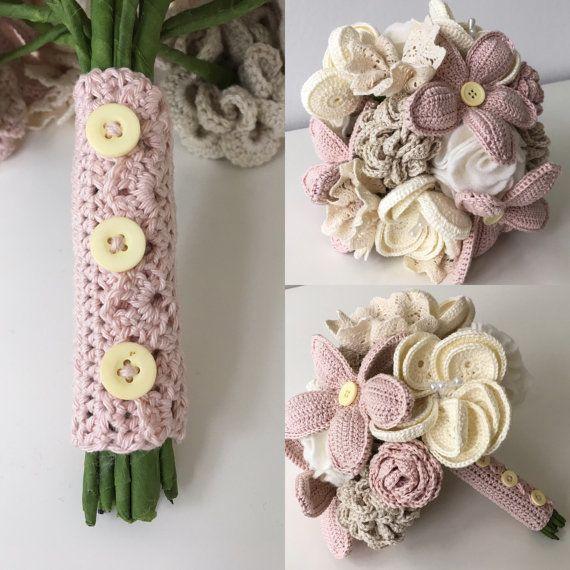 Artificial wedding bouquet, crochet bridal bouquet, button bouquet, lace flower felt flower arrangement, pink wedding flower, blush bouquet