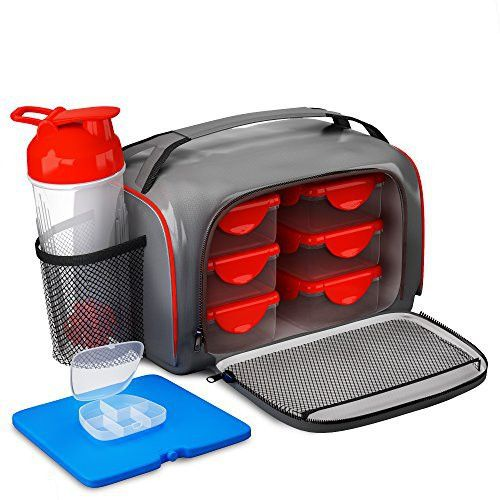 Meal Prep Lunch Fitness Bag - Includes 6 Portion Control Container Set, Reusable Ice Pack, Shaker Blender Cup and Pills Fit Pack
