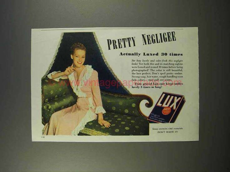 1946 Lux Soap Ad - Pretty Negligee Luxed 30 Times