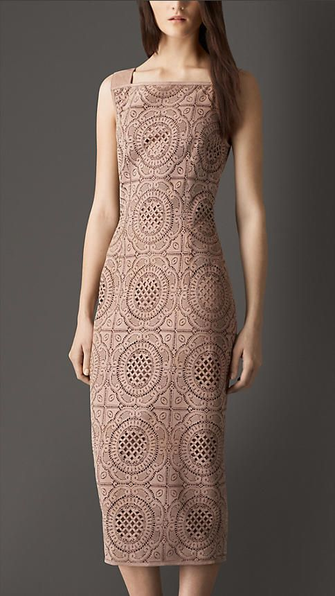 Burberry Nude Cut-out Suede Dress - A laser-cut suede sleeveless dress. The cut-out pattern is inspired by English lace designs. Tailored for a slim fit with a back zip closure and kick pleat. Discover the women's dress collection at Burberry.com
