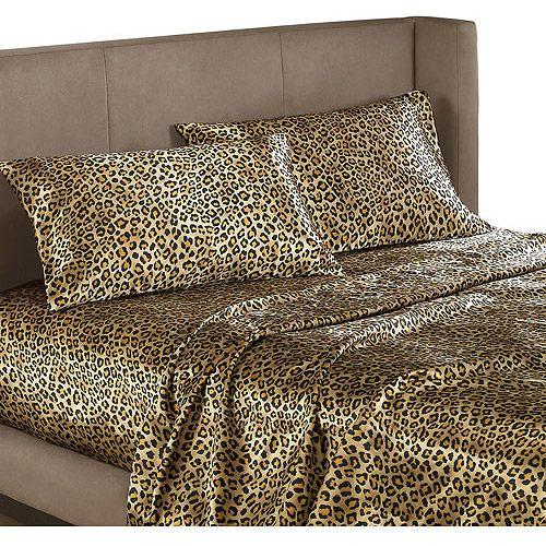 Cheetah Print Satin Sheets Queen Size Leopard Animal