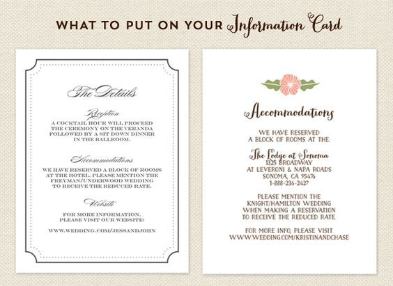 Wedding Invite Information: What To Put On Your Info Card