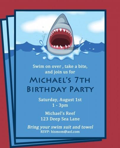 Shark Boy's Pool Swim Party invitation