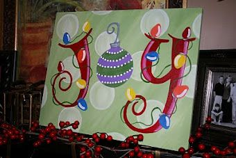 canvas painting. For christmas...on a mantle! So cute!