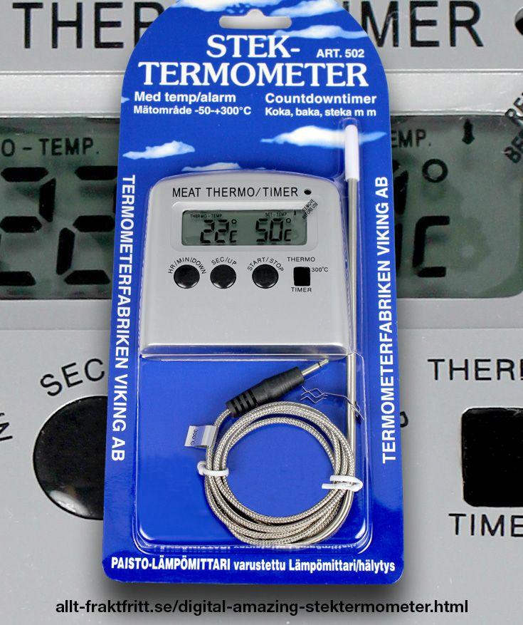 Digital Amazing stektermometer - Digital ugnstermometer 0-120C. Till att mäta temperaturen i vinjäsning, öljäsning, enzymbehandling av egen frukt.   Med alarm som man kan ställa in så det utlöses när en viss temperatur är uppnådd. Drives med ett 1,5 volt AA batteri, detta medföljer ej.