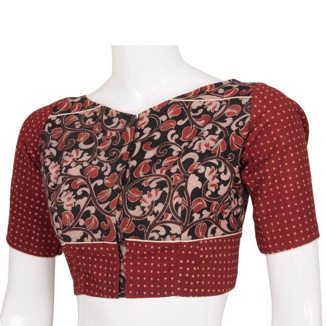 Tvaksati Handcrafted Kalamkari & Printed Cotton Blouse 10006546 - AVISHYA.COM