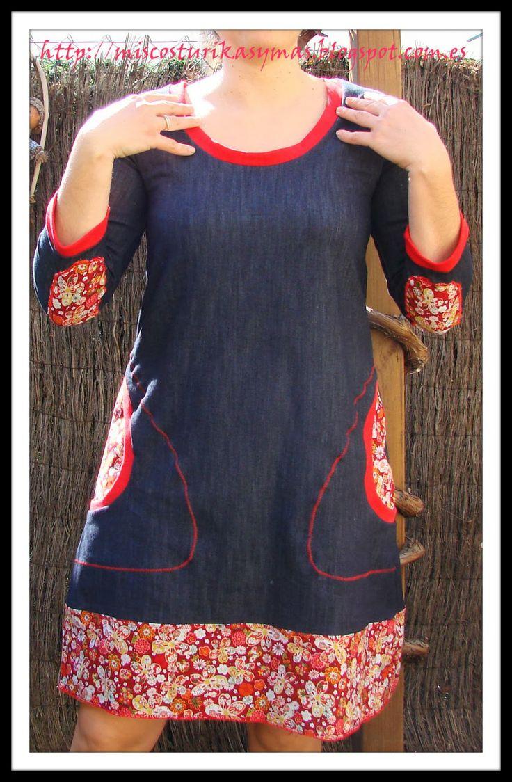 Vestido Mon amour sacado del patrón de la camiseta Plantain de Deer and Doe