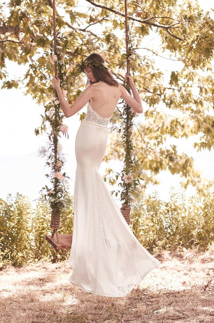 View Lace and Crêpe Wedding Dress - Style #2054 from Mikaella Bridal. Sweetheart neckline lace bodice with illusion lace back and cut outs at sides Mikaella Bridal | .Lulu's Bridal Boutique | Lulu' Bridal | Mikaella Gowns | Dallas, Texas | Bridal Salon