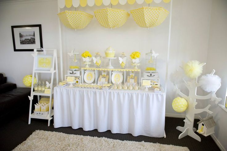Yellow and White hanging umbrellas