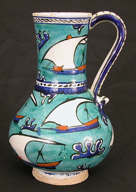 Ewer with Sailing-ship Design, early 17th century. Turkey, Iznik. The Metropolitan Museum of Art