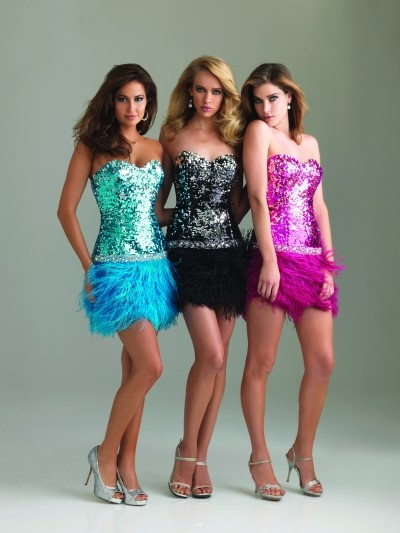 #Night Moves Prom 6402 Short fully sequined with feather bottom #Homecoming #Cocktail #Prom #Dresses #IPAProm #Prom360