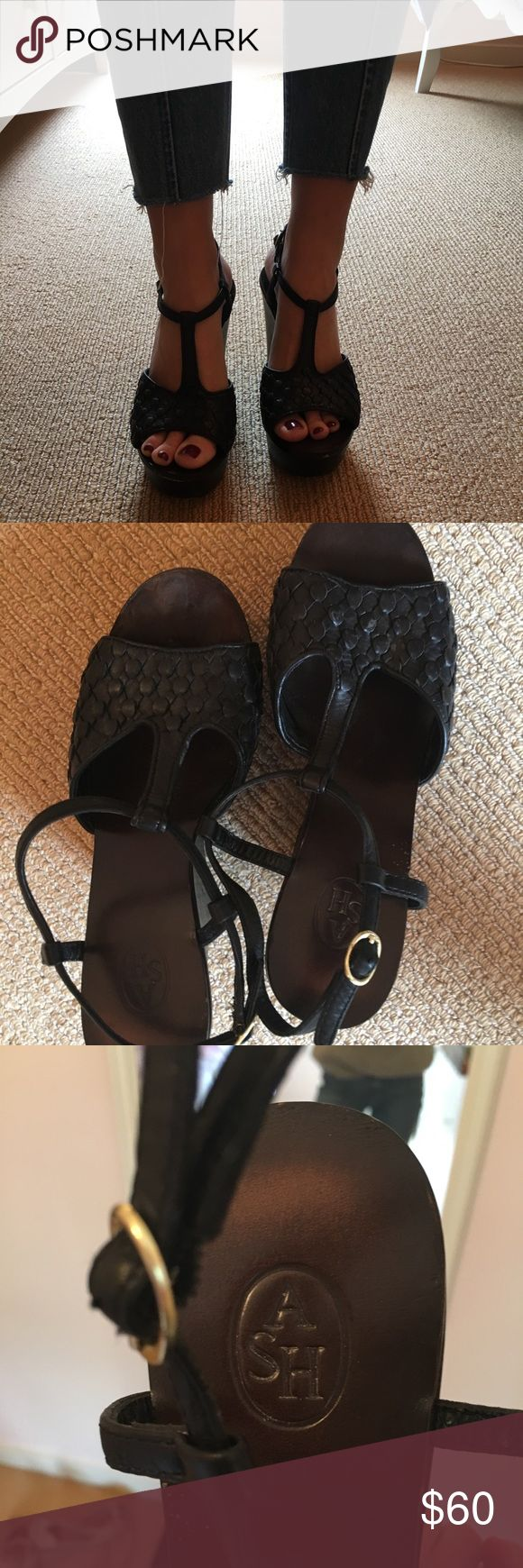 Black wedge sandals from ASH size 7.5 Comfortable platform wedge sandals by ASH, good condition, solid platform and very walkable Ash Shoes Wedges