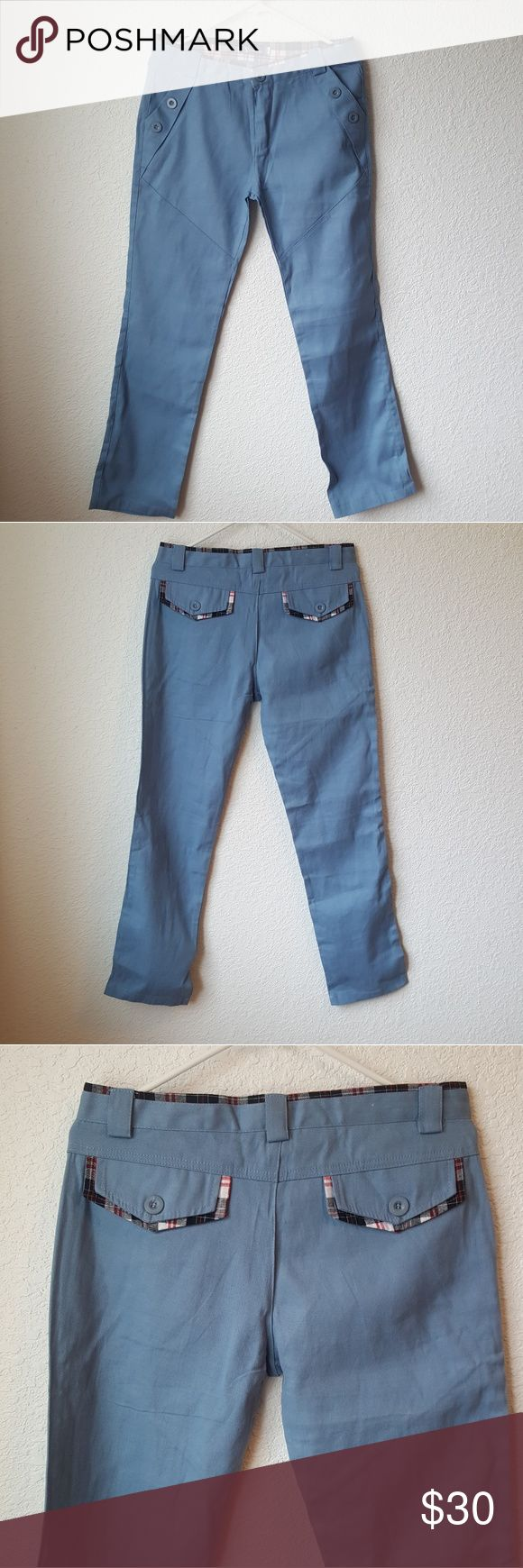 """Mens blue chinos Mens nwot blue pants.  Size says xl I'd say a small like waist size 30-32 maybe.  Waist measure 16"""" across. Pet and smoke free home. Pants Chinos & Khakis"""