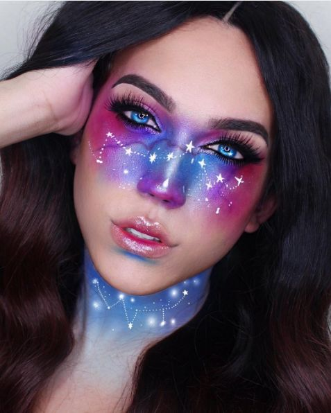 We're starry-eyed over this intricate constellation makeup.  #refinery29 http://www.refinery29.com/2016/10/124960/cool-halloween-diy-makeup-ideas-photos#slide-2