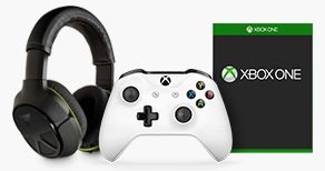 Turtle Beach gaming headset, generic Xbox One game and Xbox One controller