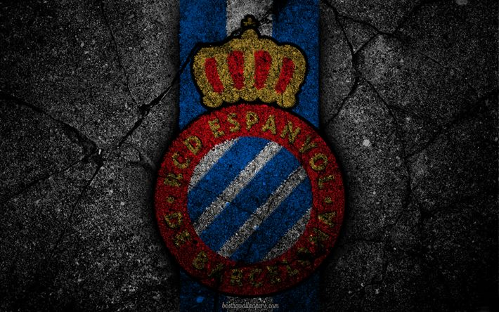 Download wallpapers Espanyol, logo, art, La Liga, soccer, football club, LaLiga, grunge, Espanyol FC