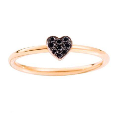 Dodo pomellato 9k rose gold ring with black diamonds!