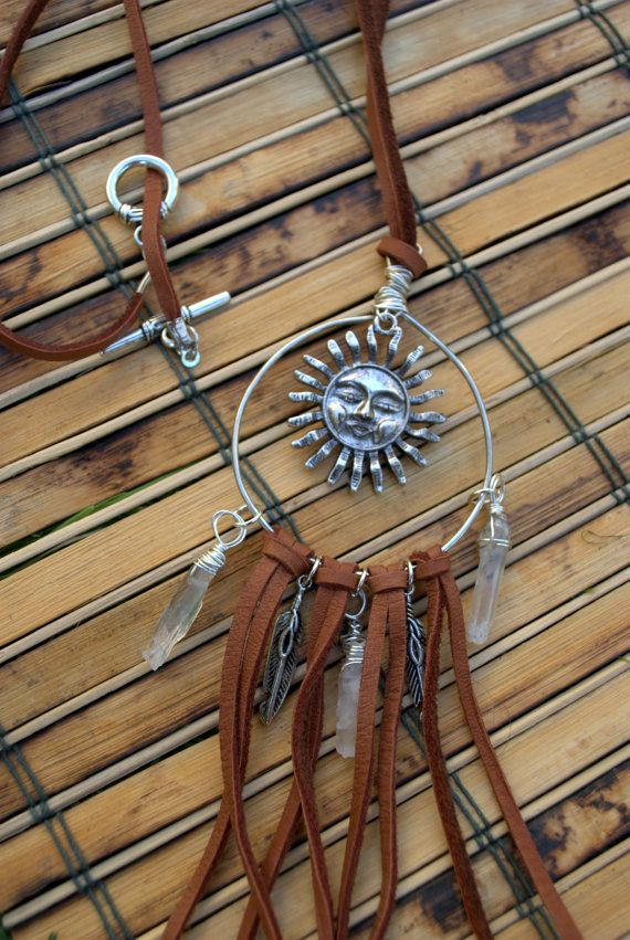 Check out this item in my Etsy shop https://www.etsy.com/listing/213376686/dreamcatcher-necklace-leather-and-wire