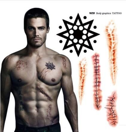 Aliexpress.com  Buy Free Shipping Arrow Tatoo Temporary Stickers Oliver  Queen Body Scar Waterproof