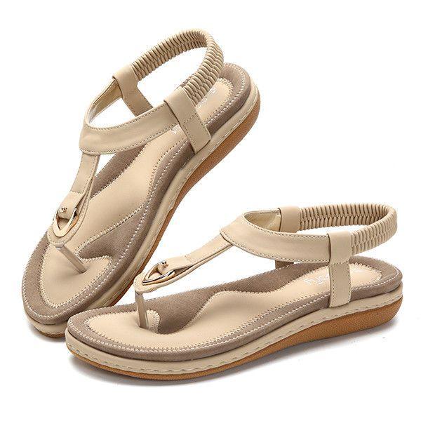 SOCOFY  Comfortable Elastic Clip Toe Flat Beach Sandals US Size 5-13 #SOCOFY #Flat #Beach
