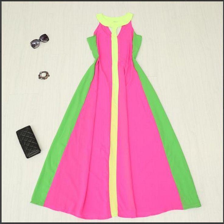 Vestidos летние женская платье макси длинное платье танк и жилет платья без рукавов v образным вырезом лоскутная пят шифоновое платье YY1381 1 купить на AliExpress