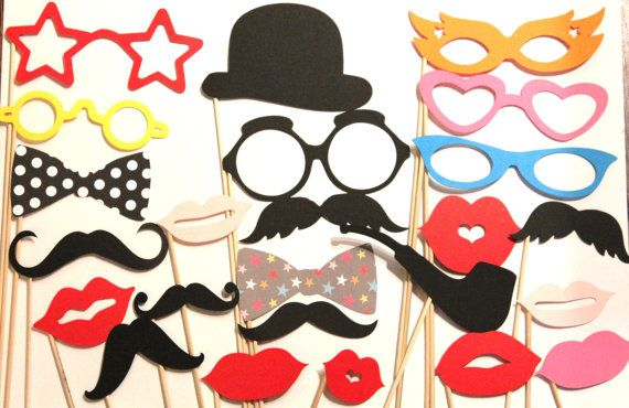 20 PhotoBooth Props Mustache Party Lips Wedding by PhotoBoothgirls