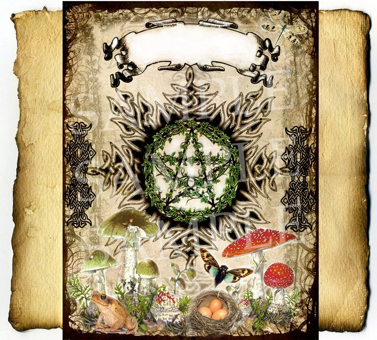 Digital Graphic, Nature Magick Title Page - BoS Wiccan Pagan Spell Page Celtic. $3.50, via Etsy.
