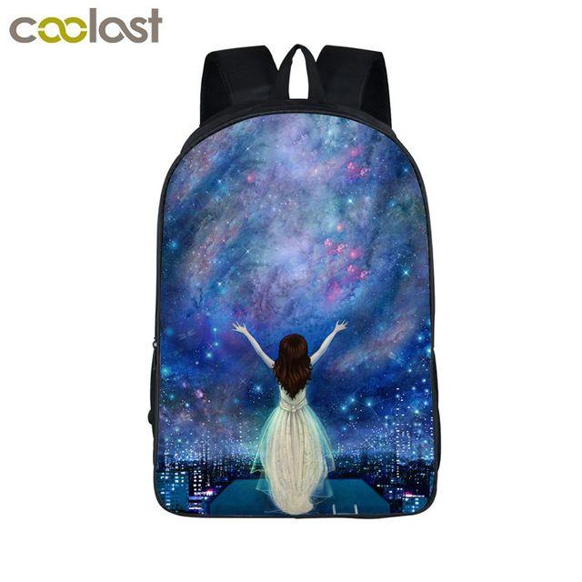 Galaxy/universo/unicornio/cheshire cat mochila escolar para Teeange School Girls Bolsas de Noche Estrellada/Space Star mochilas en Mochilas de Maletas y Bolsos en AliExpress.com | Alibaba Group