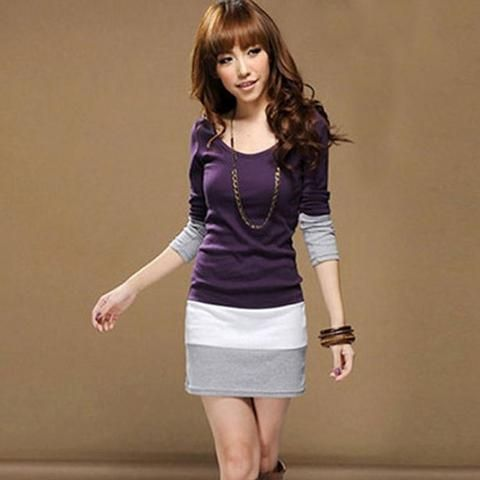 Womens Casual Long Sleeve Slim Party Dress