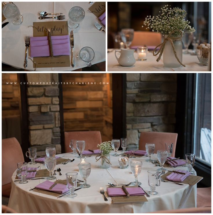 Hyeholde Restaurant Bridal Shower Photography - Pittsburgh Moon Township Wedding Photographer  Bridal shower place settings - bridal shower games display - game booklet. bridal shower centerpieces. rustic baby's breath, frosted mason jars, burlap, twine