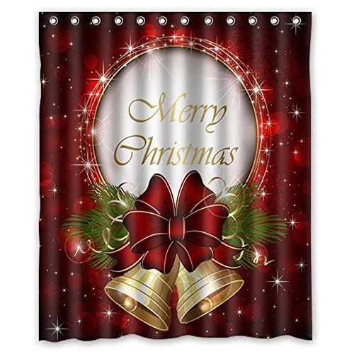 Merry Christmas Fabric Shower Curtain Complete Bathroom Set Xmas 60X72 Inch #ShowerCurtain