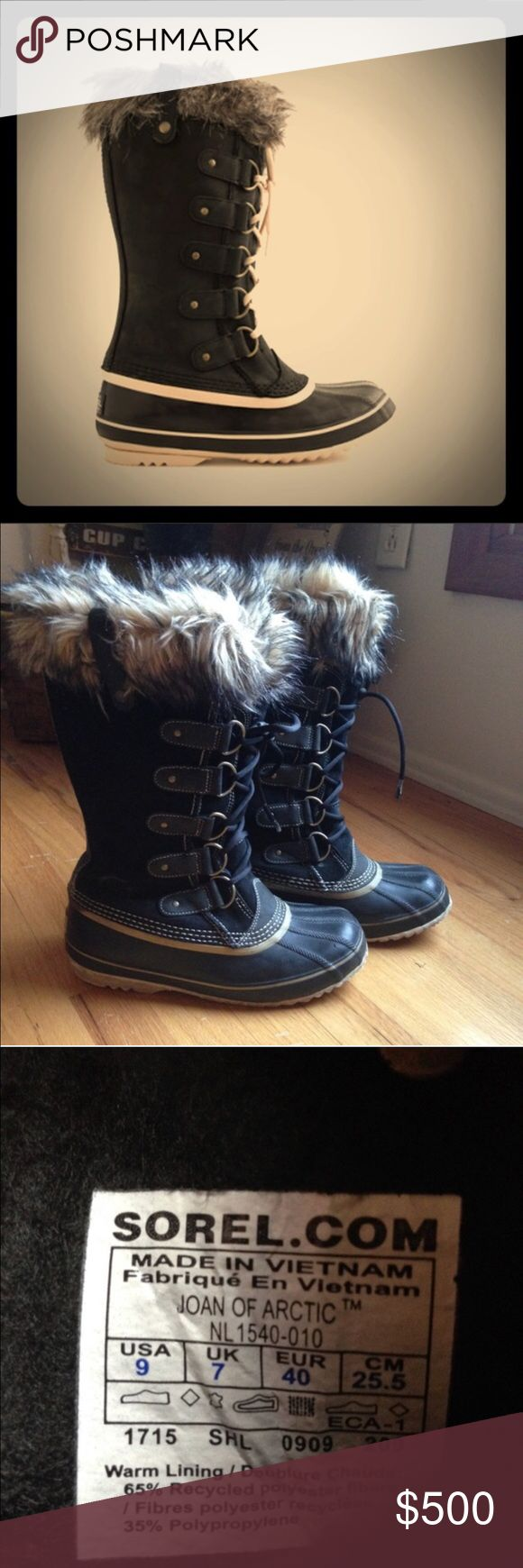 SOREL Joan of Arctic BLACK Sz 9 SOREL Joan of Arctic BLACK Sz 9 These boots are used with lots of life left SUPER fashionable and sought after! Founded in Ontario, Canada, in 1908, Sorel has long been synonymous with cold-weather footwear. Plus, it was the first company to combine durable uppers with waterproof rubber bottoms and warm lining, which is totally genius! This style captures all of that and more: faux-fur cuff and a cool exclusive colorway you won't find anywhere else. Suede…