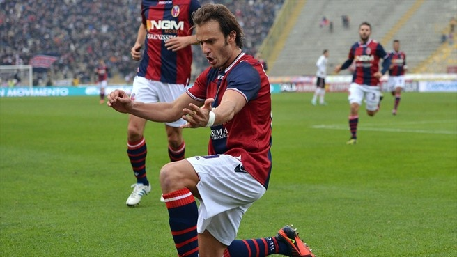 #playtheviolin Alberto #Gilardino (Bologna FC)  Alberto Gilardino of Bologna FC celebrates after scoring the opening goal of their Italian Serie A match against US Città di Palermo