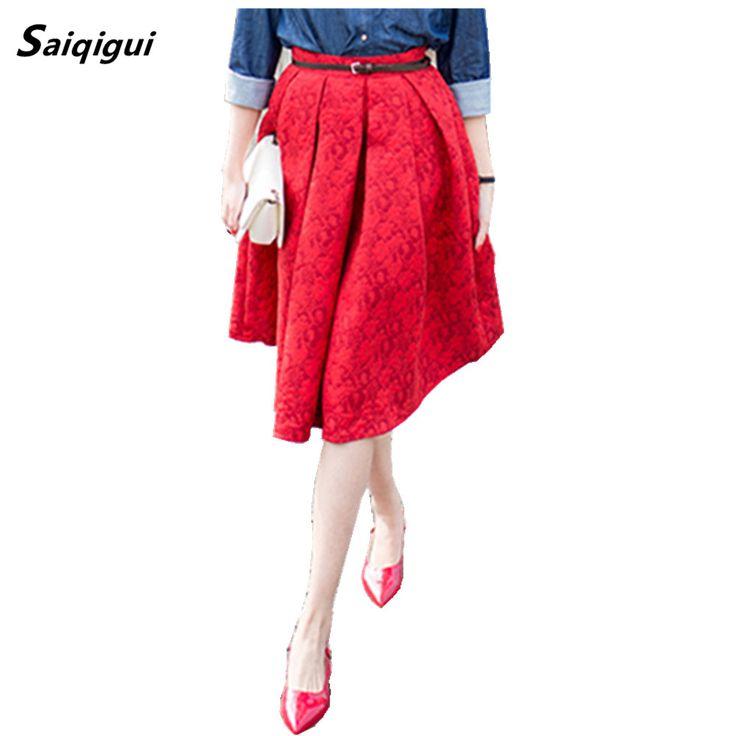 Saiqigui New Faldas 2017 Summer Vintage Skirt High Waist Work Wear Midi Skirts Womens Fashion American Apparel Jupe Femme Saias