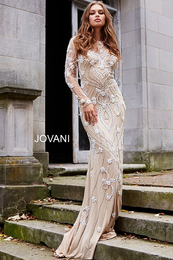 7b99d380a6 Ivory and Nude Long Sleeve Beaded Couture Dress 59897
