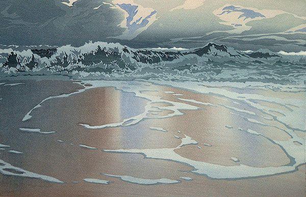 ✨ Oscar Droege (1898-1983) - Wasser am Strand, Farb-Holzschnitt ::: Water on the Beach, Colour Woodcut