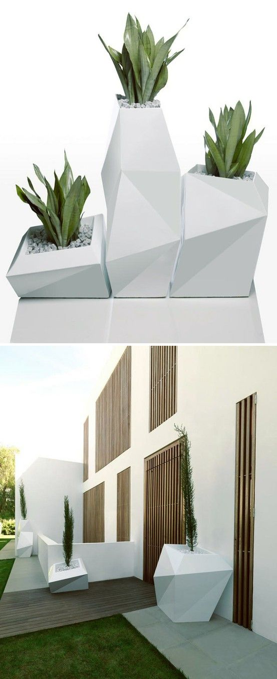 interesting concrete planter. Large Faceted Planters An interesting perspective with these planters  not a curved line it sight yet the create sense of curves 113 best Planter images on Pinterest Decks Flowers and Gutter