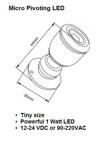 Amazon.com: Micro Pivoting LED Spotlight - 1 Watt High Power LED Lamp - Tiny Size, Cool White LED, 12 to 28VDC: Musical Instruments