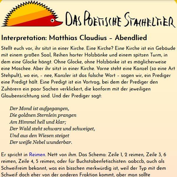 Interpretation Abendlied Von Matthias Claudius In 2020 Abendlied Deutsche Gedichte Lied
