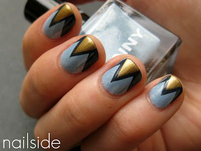 Nailside: Birthday Nails, Nails Art, Gold Nails, Geometric Design, Zig Zag Nails, Cool Nails, Art Deco Nails, Blue Nails, Chevron Nails