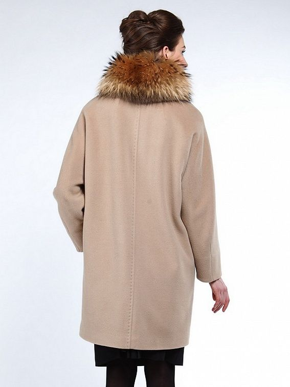 Пальто женское цвет бежевый, ворс, енот, мембрана, thermore, артикул 10131405