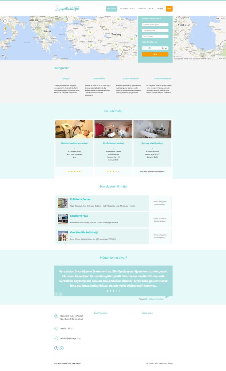 """Thanks to Burak Kara, 25 years old man from Turkey we'd like to share with you his project. He says: """"My website was desinged to collect all of the Beauty Saloons in Turkey."""" Find more info at: www.epiturkiye.com"""